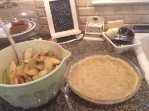 Now slice your apples and mix in the sugars, flour, lemon juice, and spices, and spread your dough in your pie pan.